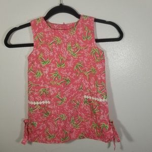 Lilly Pulitzer Pink Palm Tree Shift Dress 4t